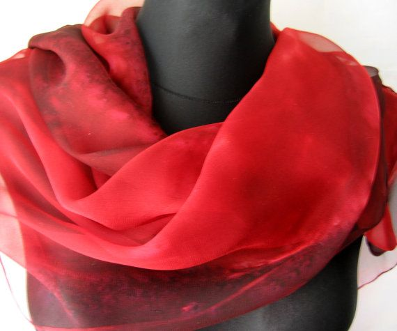 Chiffon Scarf for Ladies. Hand Painted Chiffon by TiiuHandCraft