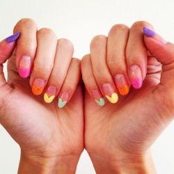 Create this cute heart tipped nail art!