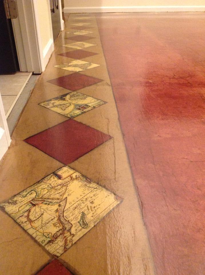 Close Up Of Vintage Map Border Floor Done With Brown Kraft Paper Stain And Polyurethane Finish Dan Par Paper Bag Flooring Diy Flooring Brown Paper Bag Floor