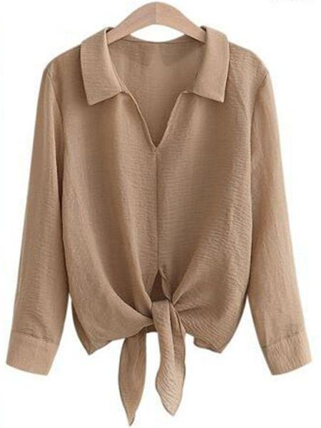 Buy V-Neck Tie-Front Plain Blouse online with cheap prices and discover fashion Blouses at Fashionmia.com.