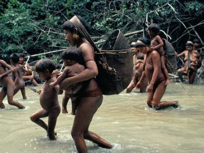 Yanomami Indians Going Fishing, Brazil, South America Photographic ...