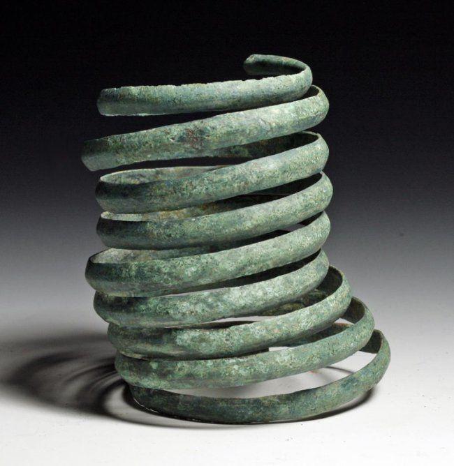 Greek Geometric Bronze Coiled Bracelet