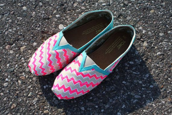Custom painted Chevron Toms by Chelmarca on Etsy, $100.00