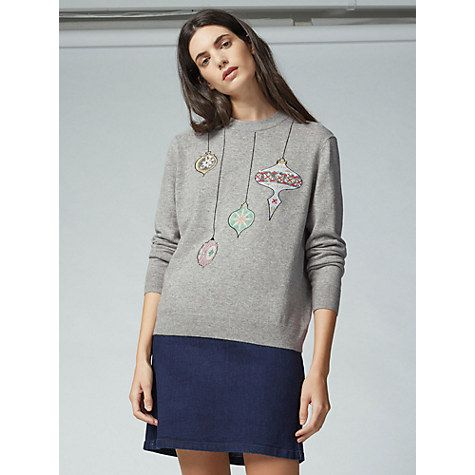 Buy Warehouse Bauble Christmas Jumper, Light Grey Online at johnlewis.com