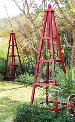Make your own pyramid-shaped trellises: attractive décor items, elegant supports for climbing plants, and intriguing frames for topiary. http://www.homeplace.co.za/solutions/100007_building-a-pyramid-trellis.php