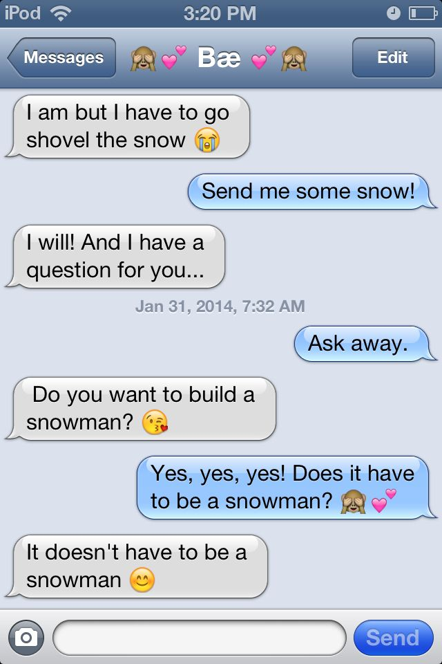 Cute text messages from Frozen; Snowman song with my love. (Long distance)