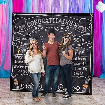 Our Graduation Chalkboard Photo Booth Prop has the look of a chalkboard with fun graduation design accents.
