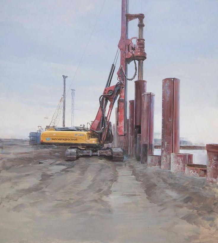 "Alpatov Alexey.Right part(author's plan) of the triptych ""Sabetta"".Трубошпунт.Truboshpunt. Canvas, oil. 2016.Sold"