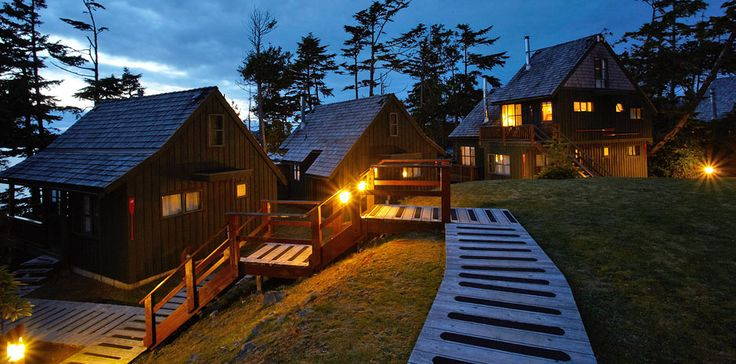 A few of our oceanfront cabins on a mystical night.