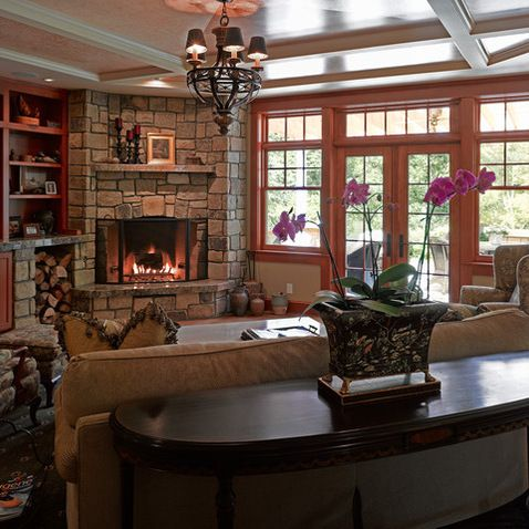 Stone corner fireplaces design ideas pictures remodel for Great room designs with fireplace