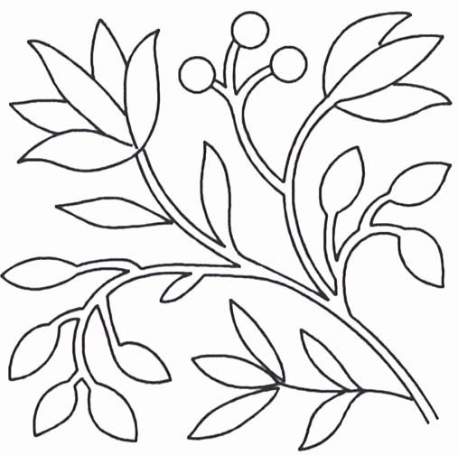 Quilt Stencil Berries and Leaves By Benvin, Roberta  - 9in. Circa 1845