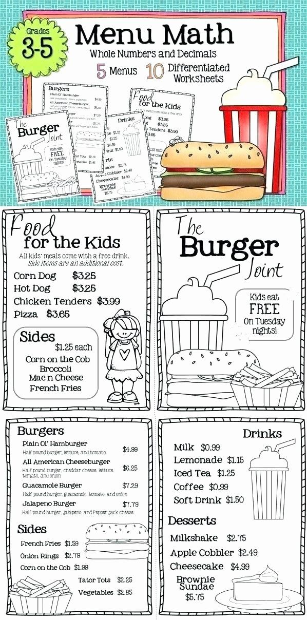 Menu Math Worksheets Printable Free Menu Math Worksheets Restaurant Math Worksheets Math Printables Money Math Printable Math Worksheets
