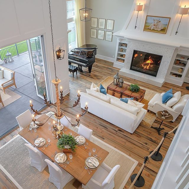 Mon Coeur, NW Natural Street of Dreams...Don't forget to vote for your favorite #designer #westlinn #oregon #streetofdreams #frenchfarmhousestyle #hamptonsstyle #livingroom #diningroom #fireplace