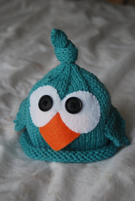 More inspiration for our baby hat knitters... good for spring. Bird knit newborn hat