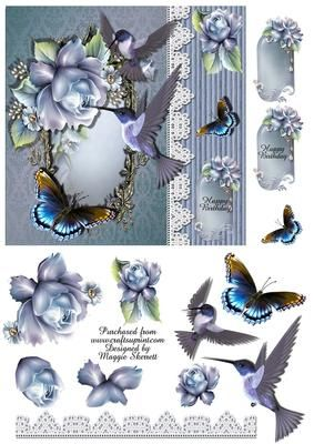 Birds and Butterflies 1 Quick Card Topper on Craftsuprint - Add To Basket!