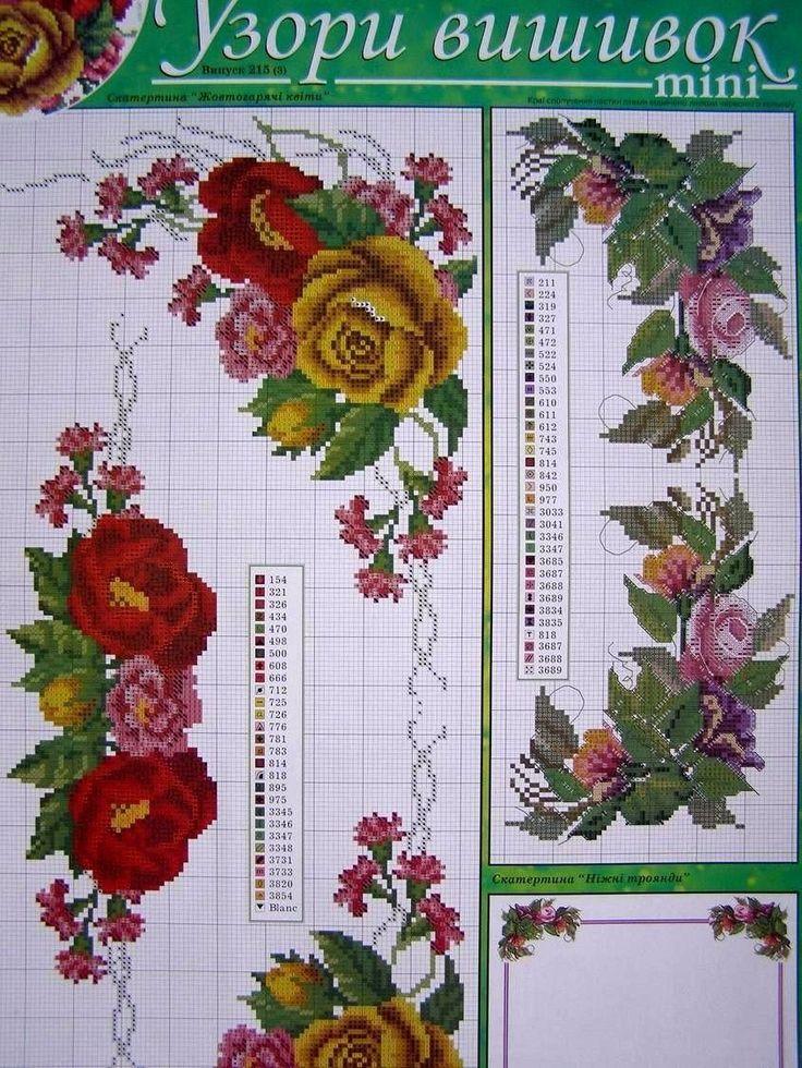 ⊱✿◕‿◕✿⊰ Ucraniano Toalha de Mesa de Ponto de Cruz Bordado Padrões de Flores para o Travesseiro  -  /  ⊱✿◕‿◕✿⊰ Ukrainian Cross Stitch Embroidery Flower Pattern