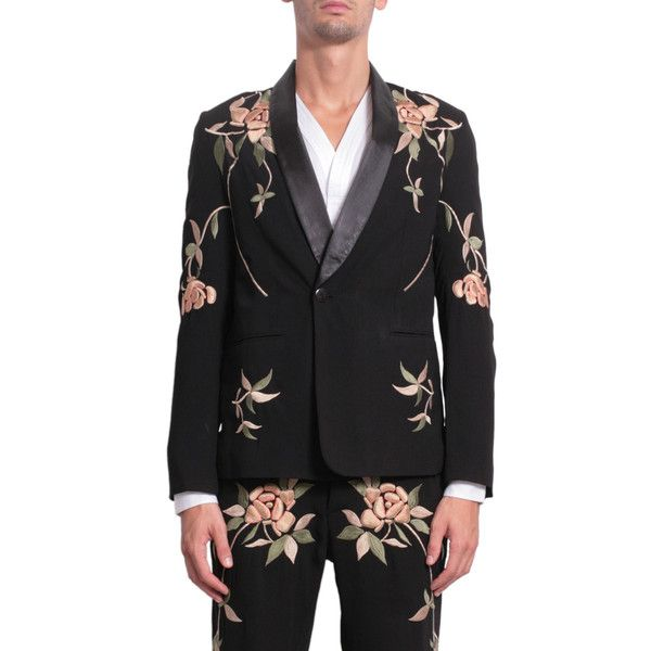Christian Pellizzari Wool jacket with floral embroidery ($966) ❤ liked on Polyvore featuring men's fashion, men's clothing, men's outerwear, men's jackets, nero, mens wool jacket, mens summer jackets and mens wool outerwear