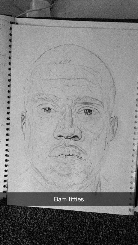 Kanye west drawing 45 mins in ( outline took 20 mins)