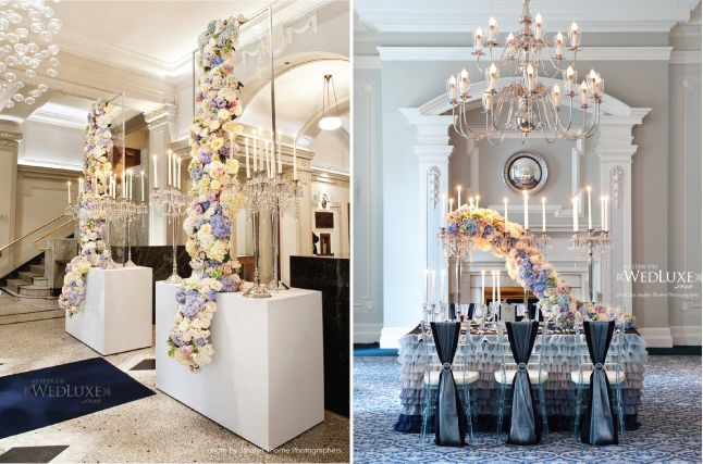 Maybe I am just really into flowers today --- love the idea of the entry way and the chairs with the sashes - beautiful -- very interesting centerpiece