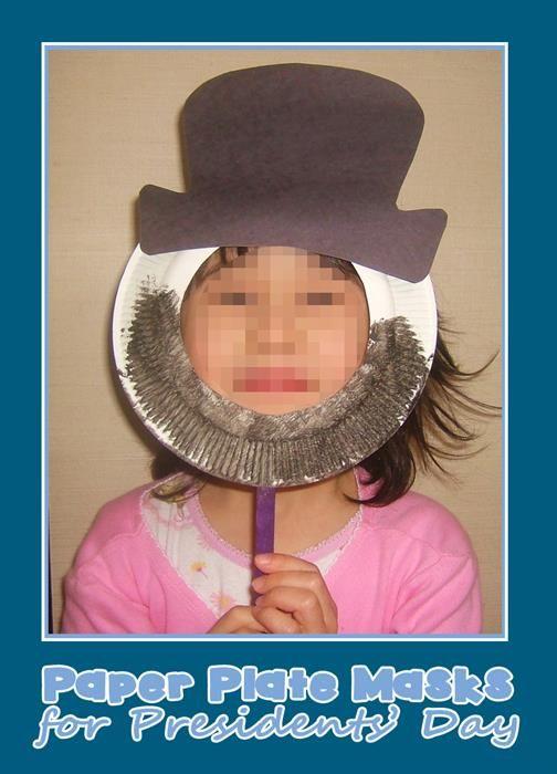"""Little Presidents"" Paper Plate Masks for Presidents' Day!"