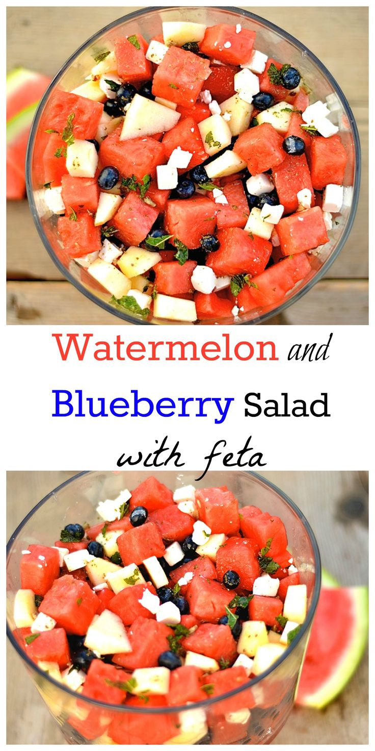 A perfect salad for the 4th of July! Refreshing watermelon, blueberries, apple, mint, and feta. Patriotic and Delicious!