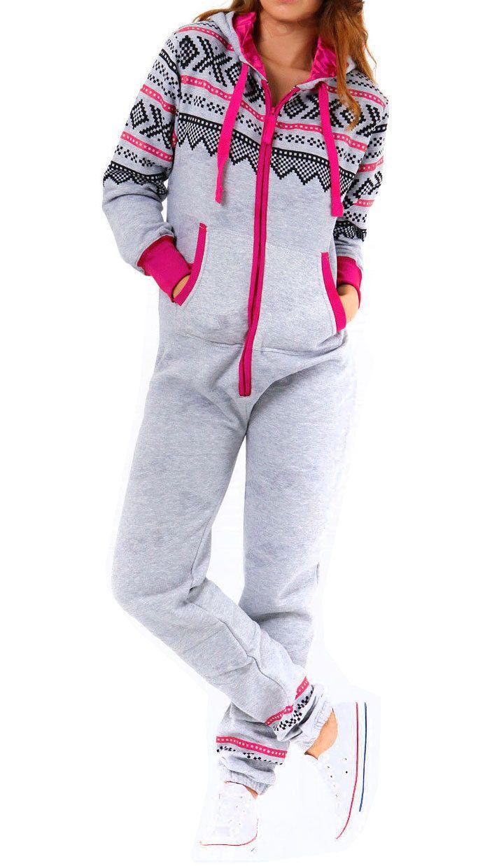 Womens Adult Ladies NEW Aztec Printed Hooded Onesie Zip Up All in One Jumpsuit