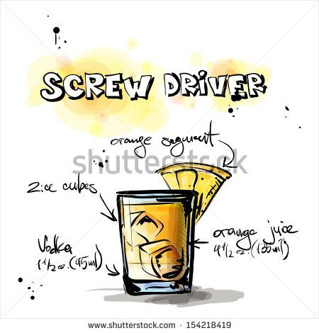 Hand drawn illustration of cocktail. SCREW DRIVER. Vector collection. by R_lion_O, via ShutterStock