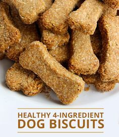 Healthy 4-Ingredient Doggie Biscuits- Love to see my pooch smile while munching on these healthy biscuits! #diydogbiscuits #dogbiscuitsrecipes