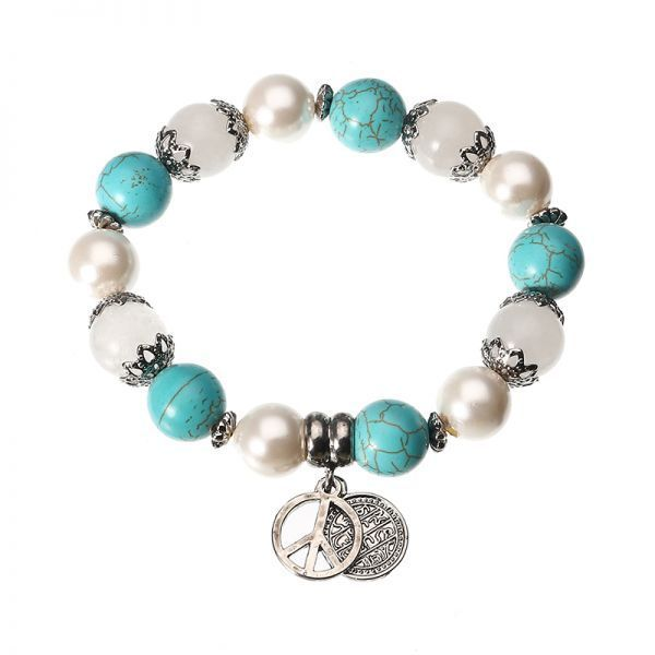 Jassy® platinum plated turquoise pearl natural stone cnd peace symbol anallergic bracelet phase 8 bracelets #6 #bangle #bracelets #bracelets #8 #inches #bracelets #how #to #make #l d #bracelets