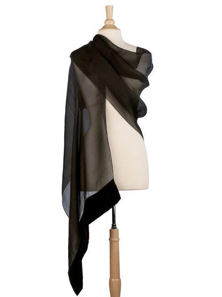 Evening shawl in sheer black silk organza with silk velvet trim.