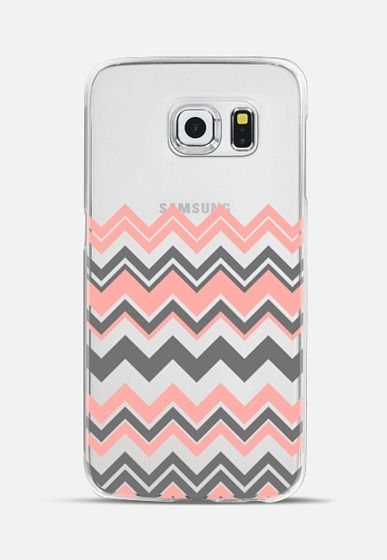 Coral Gray Chevron Transparent Galaxy S6 Edge Case by Organic Saturation   Casetify