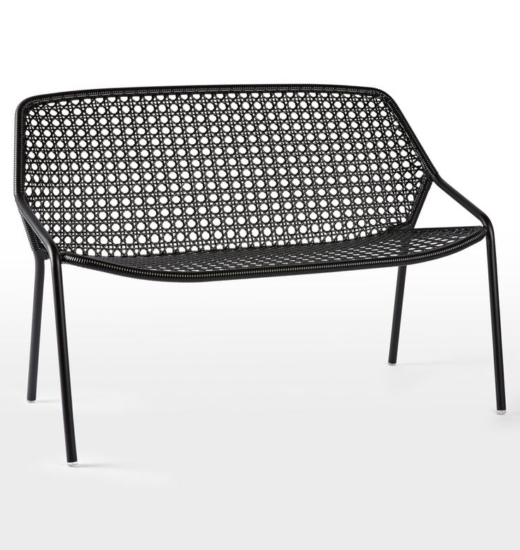 Fermob Croisette Bench. Fermob. Front porch seating. Patio seating. Modern wicker furniture. Made in France. Comfortable outdoor bench. Metal and aluminum frame. Indoor outdoor chair.