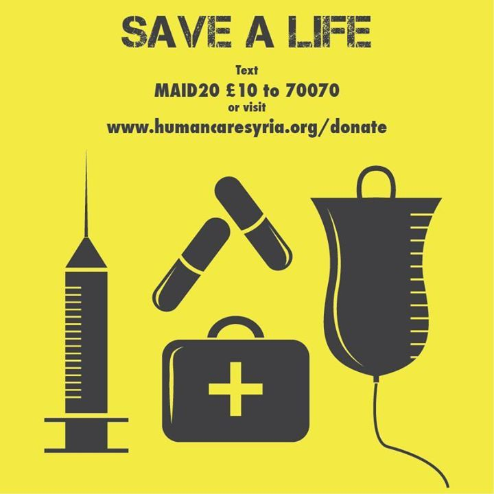 Please donate and save a life today!!! www.humancaresyria.org/donate