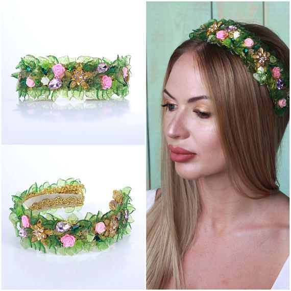 Green leaf Headband, Green Leaf Tiara Baroque Green Leaf Dolce Headband Green Leaf Crown Leaf Hair Accessories Rustic Woodland  Fantastic hair accessories for weddings, prom, parties or other special occasions.  - Handmade - Size: 3cm (1.2) wide - **100% FULL MONEY BACK GUARANTEE** Unlike others sellers, WE STAND behind our brand ILoveCrowns and provide 100% FULL MONEY BACK guarantee, if, For Whatever Reason, You dont Absolutly Love your jewelry, just contact us and we will do absolutly…