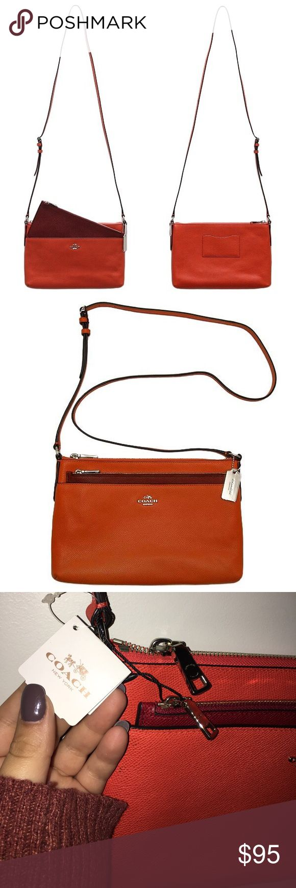 "NWT~ Coach Swingpack Crossbody ~ Coral 🌺 BRAND NEW WITH TAGS Even better than a bestselling Coach Swingpack: one with a removable pouch that can be worn separately. This slim & versatile crossbody keeps essentials neatly & securely organized for weekends & travel within its richly textured leather exterior. Leather  Zip-top closure, fabric lining  Strap w/23"" drop for shoulder or crossbody wear  Removable pouch  10 1/2"" (L) x 6 3/4"" (H) x 1 1/4"" (W) Coach Bags Crossbody Bags"