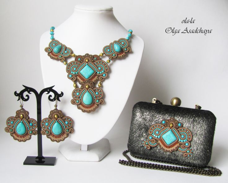 """clutch bag, necklace and earrings """"Wilderness lake""""  soutache, turquoise, howlite, glass beads, beads, natures. Italian leather, leather with fur (Italy)"""