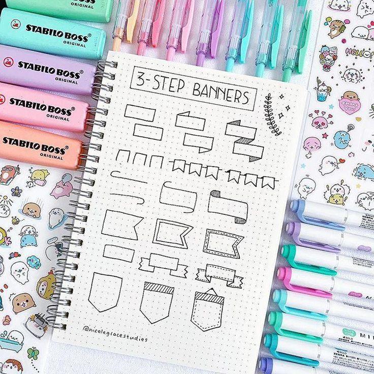 Einfache 3-Schritt-Banner-Ideen für Ihr Tagebuch oder Ihre Studiennotizen 💐 Gestern