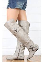 Vickie16h Buckled Flat Thigh Boots SAND