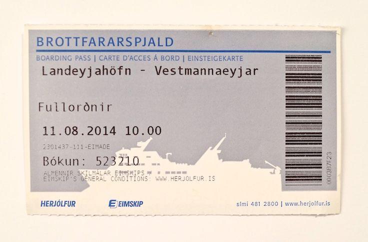 Icelandic cruise ticket.