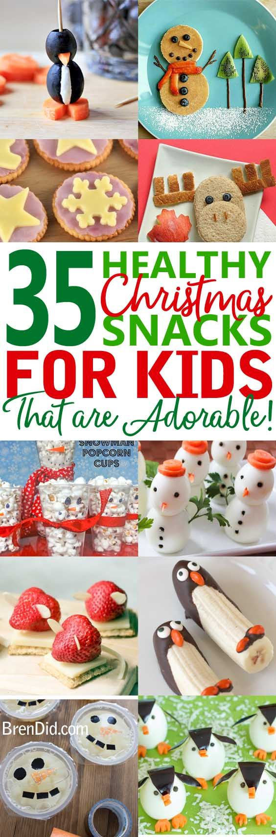 Healthy Christmas treats for kids:  Cute & Healthy Christmas snacks for kids holiday parties, winter parties, and lunch box surprises. Get the easy recipes today! via @brendidblog