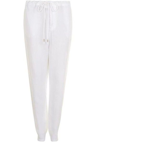 Marc O Polo Linen Trousers (140 BRL) ❤ liked on Polyvore featuring pants, white, loose fit pants, white linen pants, loose pants, cocktail pants and zip pants