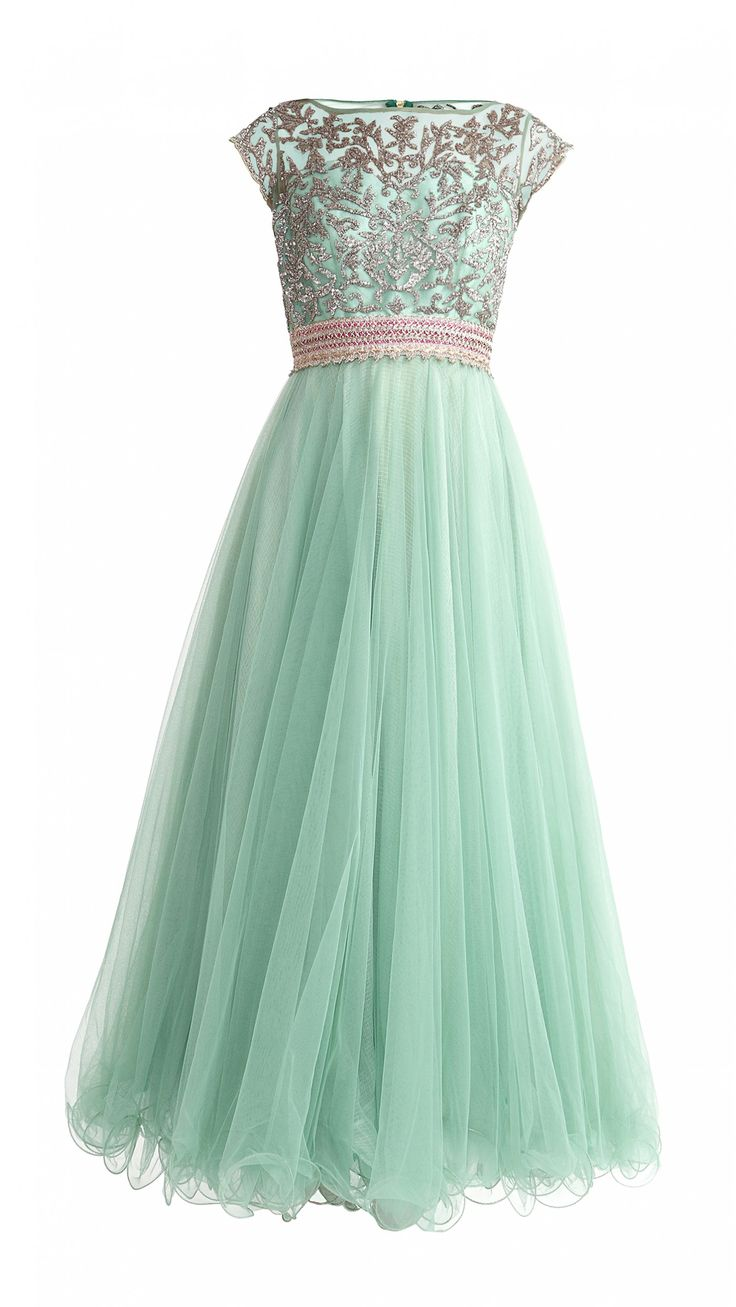 Teal Green Net Anarkali