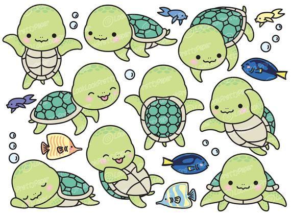 Premium Vector Clipart Kawaii Turtle Cute Turtle Clipart Etsy In 2020 Cute Turtle Drawings Turtle Drawing Cute