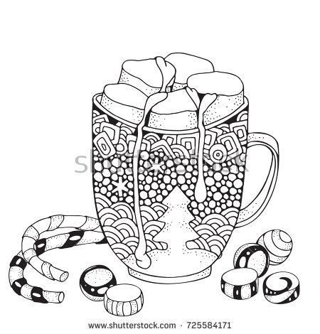 Christmas mug with hot chocolate and marshmallow.  Christmas decoration. Xmas sweets. Adult Coloring book page. Hand-drawn vector illustration. Black and white Pattern for coloring book. Zentangle.
