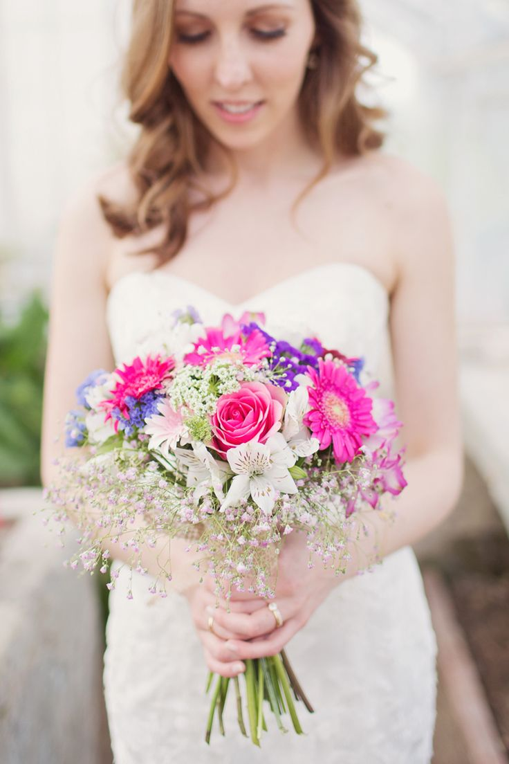 Bride Bridal Bouquet Pink Gerbera Gypsophila Purple Flowers Colour Pop Summer French Chateau Wedding http://www.cottoncandyweddings.co.uk/
