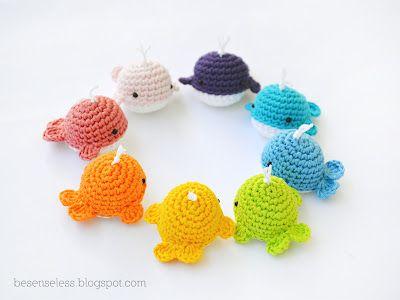 Crochet amigurumi whales, rainbow of colors