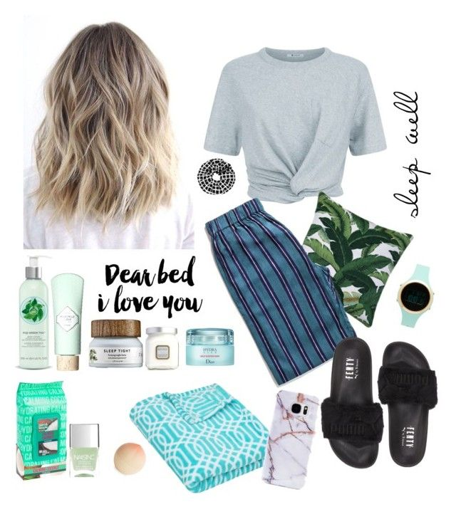 """""""Night Routine"""" by cavffeine ❤ liked on Polyvore featuring T By Alexander Wang, Tony Moly, Fuji, Benefit, Laura Mercier, Lipsy, Puma, Christian Dior, SCENERY and Samsung"""