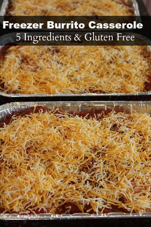 Mexican meals are great freezer meals. This Freezer Burrito Casserole is easy to make, contains 5 ingredients, and is gluten free!