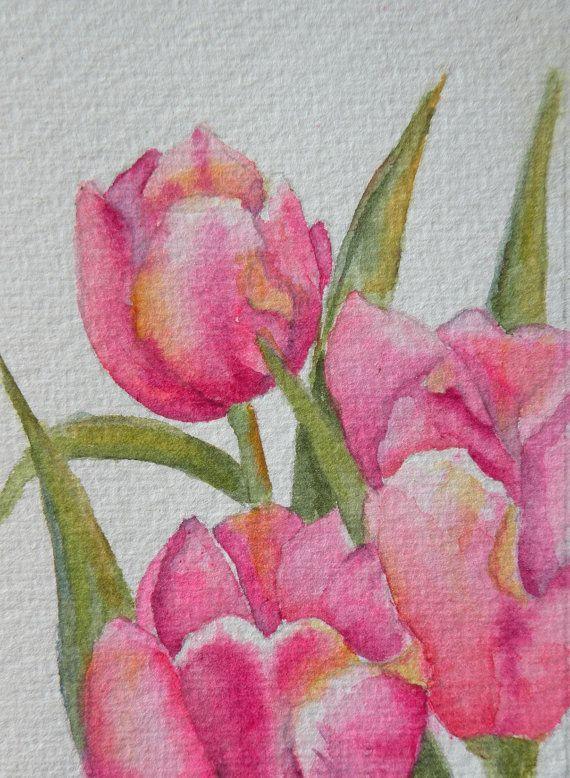 Kunst kaart van roze tulpen aquarel ACEO originele door Marleyart