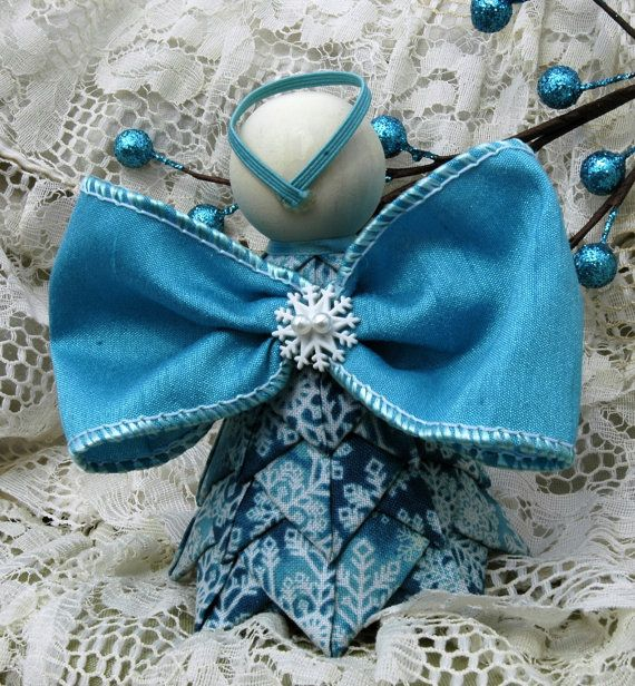 Turquoise Snowflake No Sew Quilted Angel di MyPrairieCreations